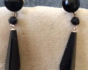 Elegant Victorian Rose Gold & Faceted Onyx Pendant Earrings