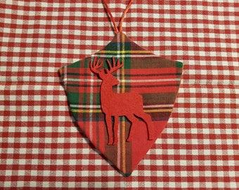Ornament Christmas Plaid, large black deer.