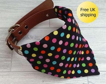 Dog Bandana, spots bandana, collar bandana, bandana dog collar, dog neckerchief, doggy bandana, puppy bandana, black bandana, dog clothes