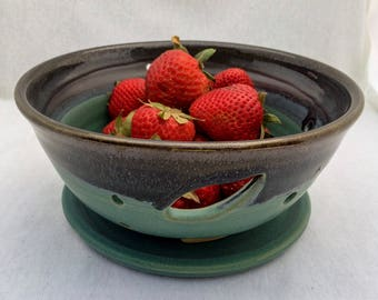 Stoneware pottery berry bowl/ colander, with cut-out leaf handles and drip plate, matte green and black glaze- ceramic berry bowl