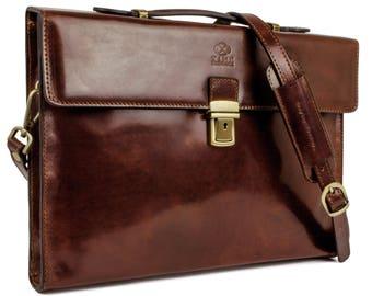 VALENTINES DAY, Leather business bag, Leather briefcase, Brown leather bag, laptop bag, leather messenger bag, Shoulder bag - Moonheart