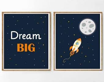Dream Big, Nursery space printable, printable nursery,4 SIZES INCLUDED, nursery space, nursery rocket print, space print, outer space print