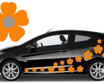 32, Orange & silver flower car decals,stickers in three sizes