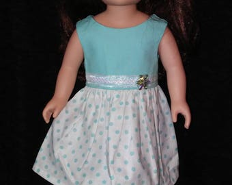 "18"" doll clothes. Doll Dress. Summer Fun. Polka Dot."