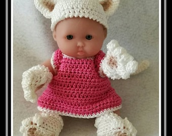 Mini baby dressed as cat crochet throughout