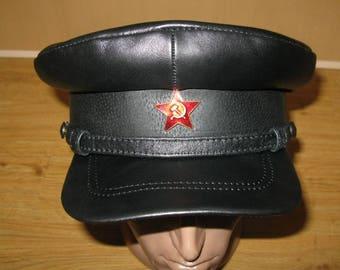 Soviet Russian NKVD Leather Reenactment Military Visor Cap Hat