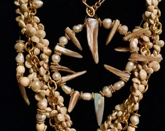 Freshwater Pearls and Shells Necklace