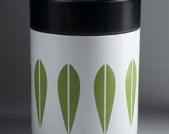 Cathrineholm, Norway - LOTUS - Canister - white with green leaves
