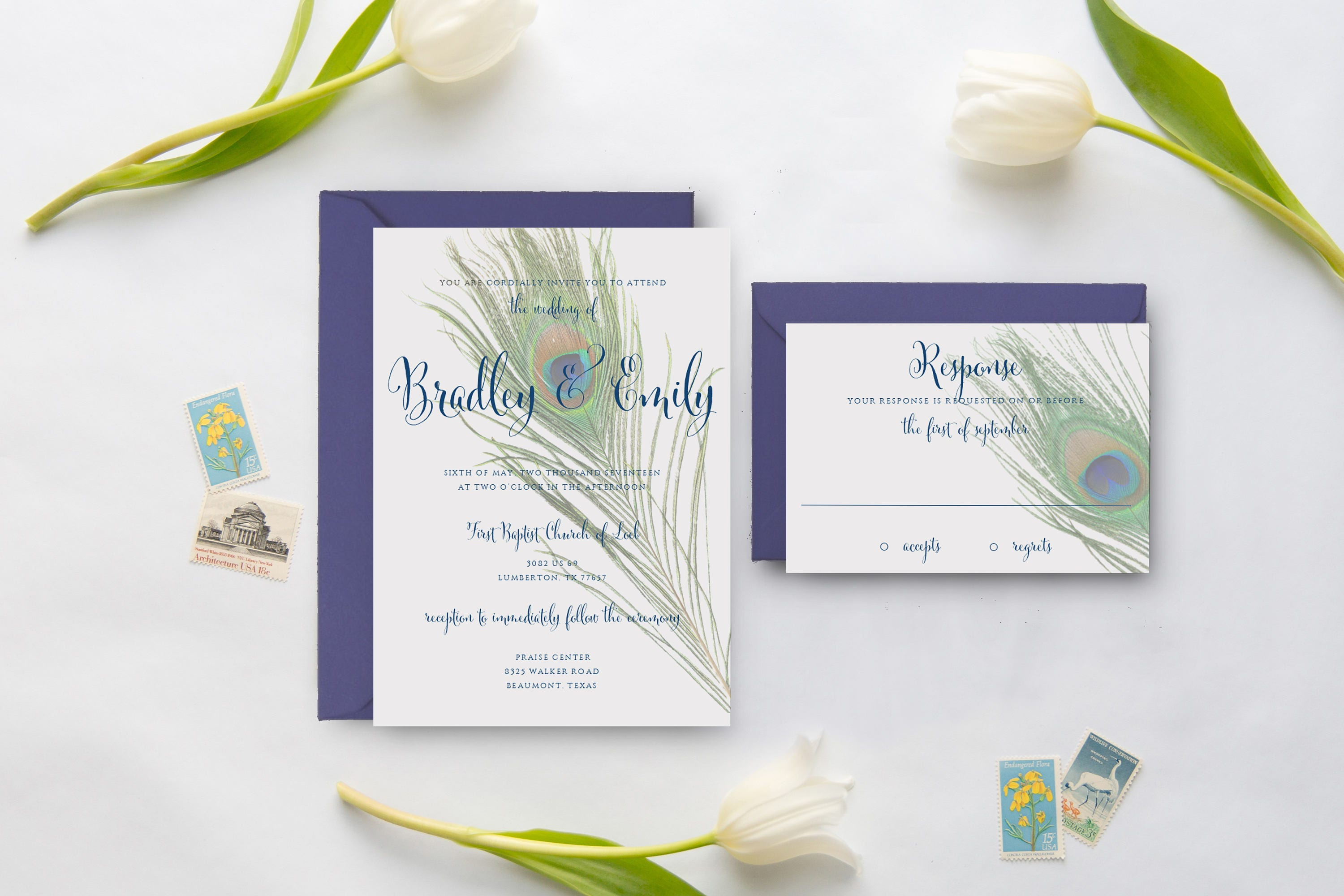 Peacock Feather Wedding Invitation: Peacock Wedding Invitation Feather Wedding Invitations Blue