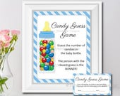 Candy Guessing Game, Baby Shower Game, Blue, Boy, Blue Strips, Baby Bottle, Baby Shower Printable, PDF, Digital, Instant Download T294A