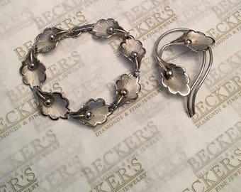 Vintage set of Danecraft sterling silver Trumpet Flower Bracelet and Matching Pin Brooch