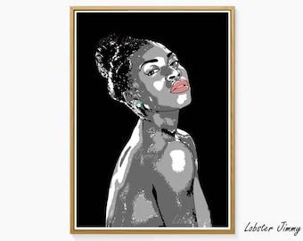 Modern Pop Art, African American Woman Wall Art, Pink Wall Decor, Contemporary Wall Art, Naked Woman Art, Digital Art Ready to Print