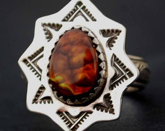 Flower Bouquet Fire Agate Argentium Sterling Silver Ring Handmade NEW - Beautiful