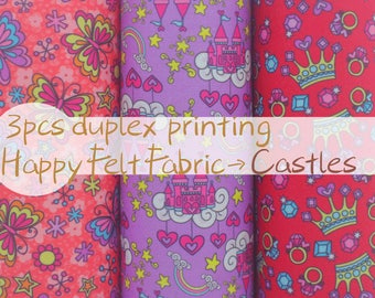 Duplex Printing Felt Fabric  - 30×22.5 cm - 3sheets/pack - Castle Butterfly Crown - Printed Fabric - Vintage fabric - Quilting fabric