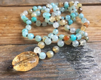 Ice Blue Cracked Agate + Citrine Mini Mala | 108 Bead Handknotted | Spiritual Junkies | Yoga + Meditation | 6 mm