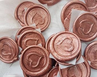 Wax seals heart shaped, self adhesive wax seal,invitation wax seal,wedding invitation wax seal, rose gold wax seal, rose gold heart wax seal