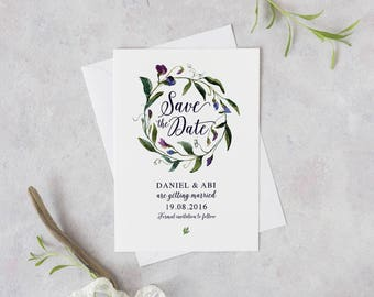 Floral Woodland Save the Date, Rustic Save the Date, Floral Wreath Save the Date, Purple, Custom Printable