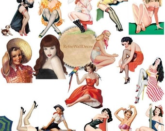 30%OFF Pin Up Girls Printable Digital Collage Sheet in PNG , Greeting cards Vintage Paper Craft Buy 2 Get 1 FREE