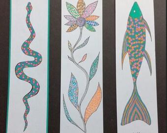 Three bookmark original drawings