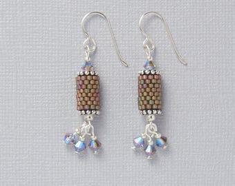 Peyote Stitch Earrings with Swarovski® Crystals-Metallic Green-Handmade Earrings-Seed Bead Earrings
