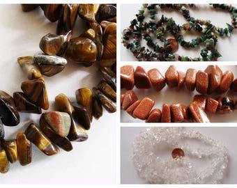 Fil 85cm perles CHIPS pierre au choix pépites DIY création bijoux déco