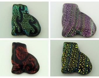 Cabochon verre dichroïque Chat Animal 27mm pièce unique modèle au choix transformable en pendentif DIY création bijoux