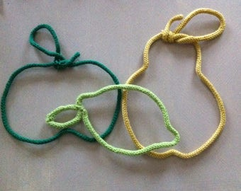 Apple pear and lemon yellow and green knitting and wire
