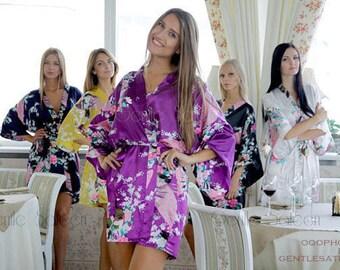 Bridesmaid Robes, Satin Floral Robes, Bridesmaid Gift, Set of Robes, Bridal Robe, Bridesmaid Party, Kimono Robes, Weddings Robe, Silk Robes