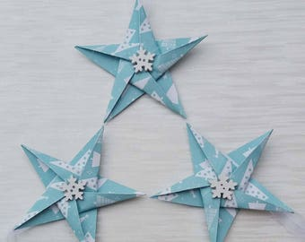 Tree themed star Christmas decorations, Paper Stars, Paper tree decorations, festive, decor, paper, unique, buttons, winter