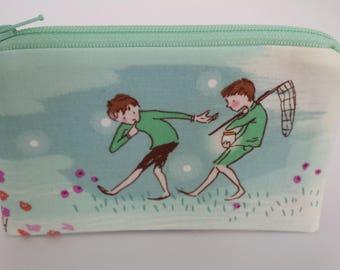Little Zipper Pouch - Catching Fireflies, Boy // Coin Purse // Gift Card Holder // Party Favor // Stocking Stuffer // Gift for Kids