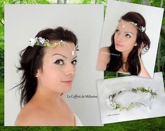 """Flowers wedding flowers tiara Crown white and green leaves """"Astya"""""""