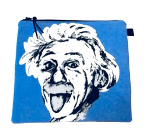 Albert Einstein Multi Purpose Pouch, Small Craft Project Bag,  Makeup Bag, Gadget Bag, Pencil Case, Handmade in the UK