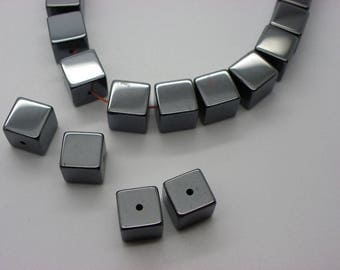 6 metallized 10 mm square cube black silver