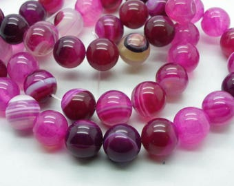 10 round 10 mm agate 10 mm beads with a pink and white
