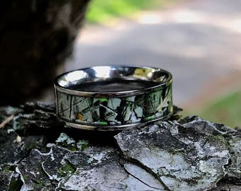 Custom Engraved Titanium Camo Ring Unisex Hunting Camouflage Wedding Band  Ring 8 Mm Hypoallergenic Ring Allergy