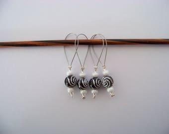 Fun beaded Stitch Markers - set of 4 - knit knitting charms,  stitch markers