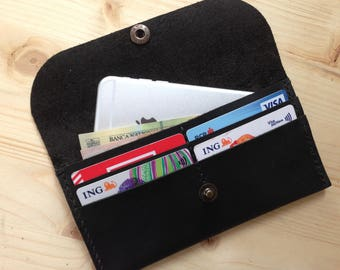 Black leather wallet,Black iPhone leather wallet,Handmade leather wallet