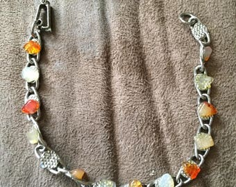 Vintage Silvertone Multicolored Stone Design Bracelet, 7 1/4'' Long