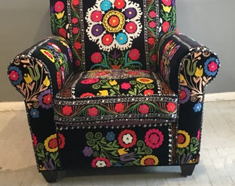 Attractive Boho Armchair, English Arm Chair, Suzani Arm Chair , Comfy Arm Chair