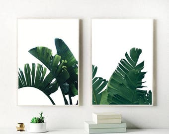 Banana Leaves Print, Set Of 2 Prints, Banana Leaf, Banana Leaves Printable,  Wall Art, Home Decor, Instant Download