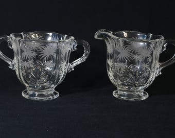 Fostoria Barque Footed Creamer and Sugar Bowl Chintz (Etched) Set