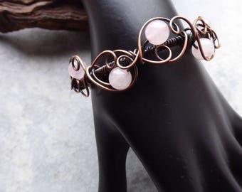Rose Quartz Bracelet, Rose Quartz Bangle, Wire Wrapped Jewelry, Pink Jewelry, Copper Bracelet, Daughter Gift, Adjustable Length