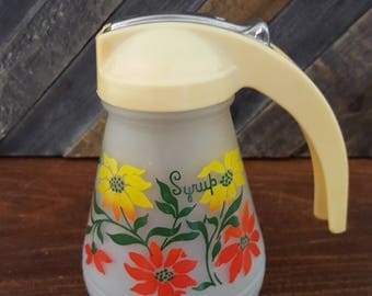 SALE - Syrup Pitcher - Anchor Hocking Frosted Glass