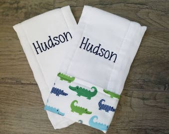 Custom Embroidered Burp Cloth Set of 2- Hudson