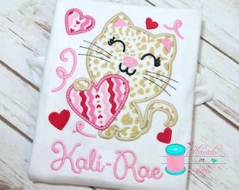 Valentine's Applique Shirt - Girls Valentine's Shirt - Cat Applique Shirt - Girl's Applique Shirt -  Valentine's Day Shirt - Kitty Shirt