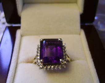 VINTAGE 4CT? AMETHYST & DIAMOND Accent Ring  9ct Yellow Gold  - Size N/O