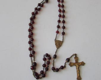 Vintage Red Glass & Brass Rosary Vintage Rosary Beads Beautiful