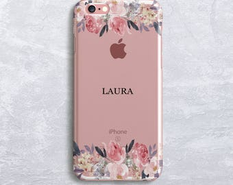 Floral Custom Name Personalised Phone Case Monogram iPhone 7 case iPhone 6S Case Samsung S7 Case, Samsung S8 case