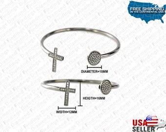DIAMOND Cross And Round DiscOpen Bangle Bracelet made with 925 Silver and Natural Diamonds, Diamond Findings, unique Bangle, Silver Color