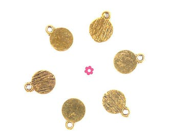 Charm 20 x small Gold Medallion (230D) 8mm